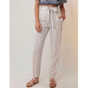 Express Striped Linen-blend Sash Waist Ankle Pant